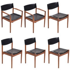 Rare Set of 6 Dining Chairs by Erik Wørts in Teak and Leather