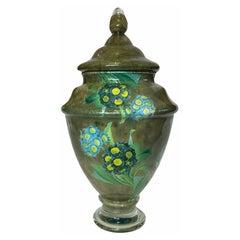 Scott Potter Art Glass Hydrangeas Lidded Urn