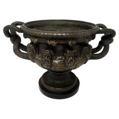 Antique French Ormolu Bronze Marble Warwick Albani Vase Urn Centerpiece 19thCt