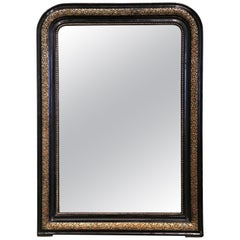 19th Century French Louis Philippe Gilt and Blackened Mirror with Repousse Decor