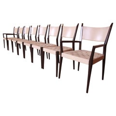 Paul McCobb Irwin Collection Ebonized Mahogany and Woven Leather Dining Chairs