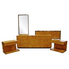 Mid-Century Modern Baughman Burl Wood Chrome Bedroom Set Dresser Nightstands 80s