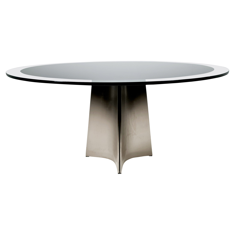 Luigi Saccardo for Armet Pedestal Round Dining Table, 1970, Italy