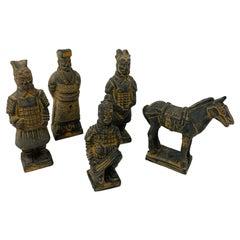 Vintage Figure Set of Miniature Terracotta Chinese Xian Warriors