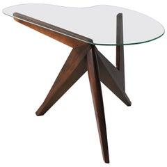 American Designer, Free-Form Side Table, Walnut, Glass, America, 1950s