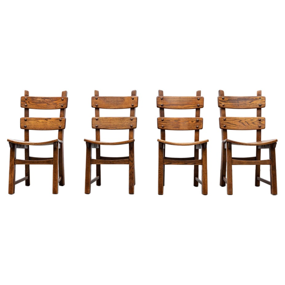 Set of 4 Brutalist Style Oak Ladder Back Dining Chairs