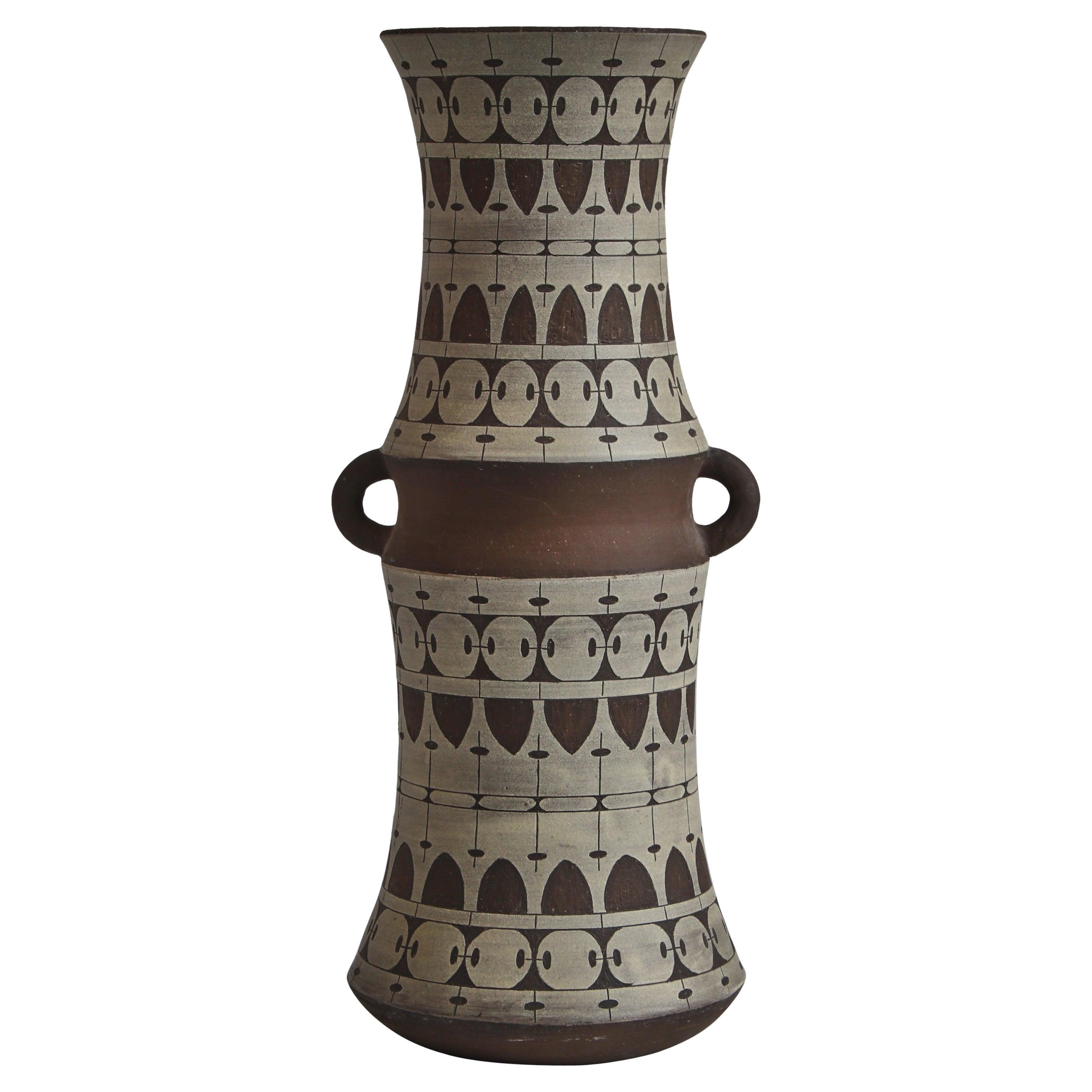 Large Scandinavian Modern Ceramic Floor Vase by Ulla Winblad, Sweden, 1960s