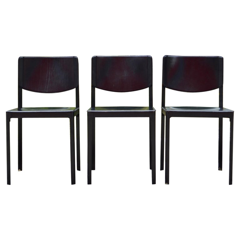 Tito Agnoli for Matteo Grassi Vintage Leather Dining Chair Set of 3