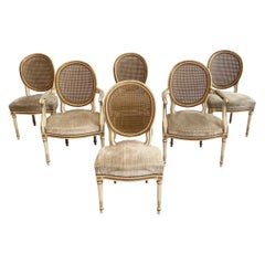 Set of 6 Antique French Style Cane Back Dining Chairs