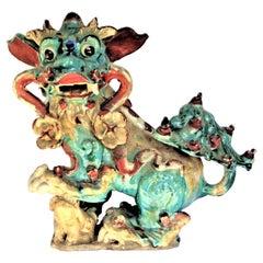 Early Antique Chinese Sancai Glaze Stoneware Foo Dog Roof Tile