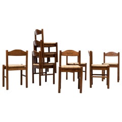 Set of 8 Vico Magistretti Inspired Rush Dining Chairs with Carved Detail