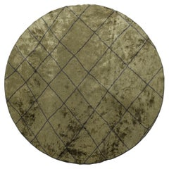 Modern Berber Olive and Charcoal Luxury Area Round Rug