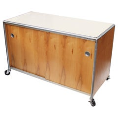 Vintage Mid-Century Modern Industrial Rolling Credenza Cabinet by Henry P Glass