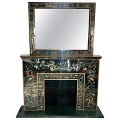Italian Mirrored Fireplace Mantel with Floral Églomisé Decoration with Mirror