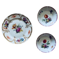 Set of KPM Porcelain Neuzeriat Plate and Two Small Bowls