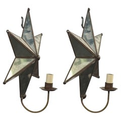Pair of American Art Moderne Mirrored Star Wall Sconces