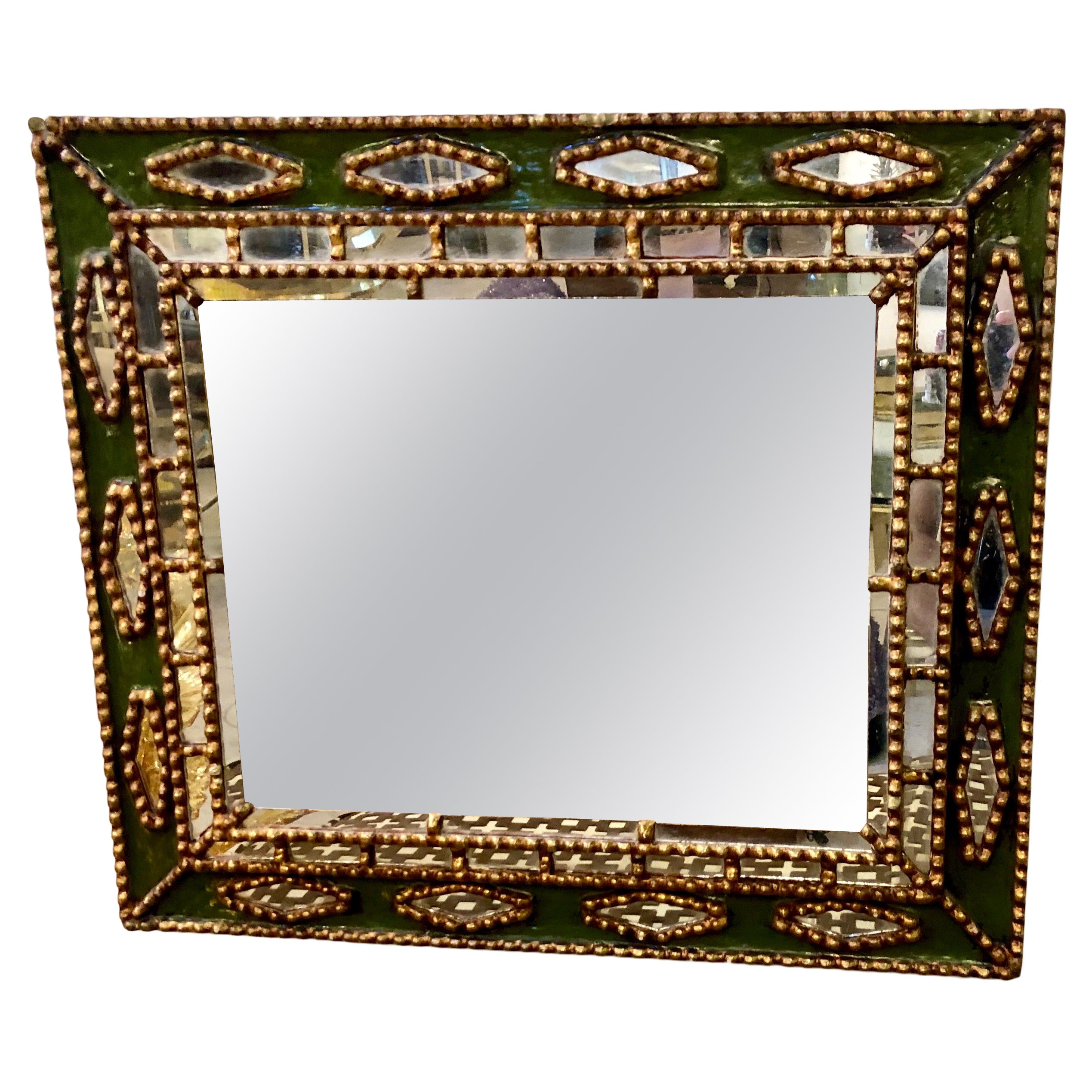 Unique Line Vautrin Style Gilt and Green Enameled Mirror