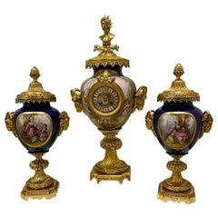 Large Sevres Porcelain & Bronze Dore 3 Piece Clock Garniture Set