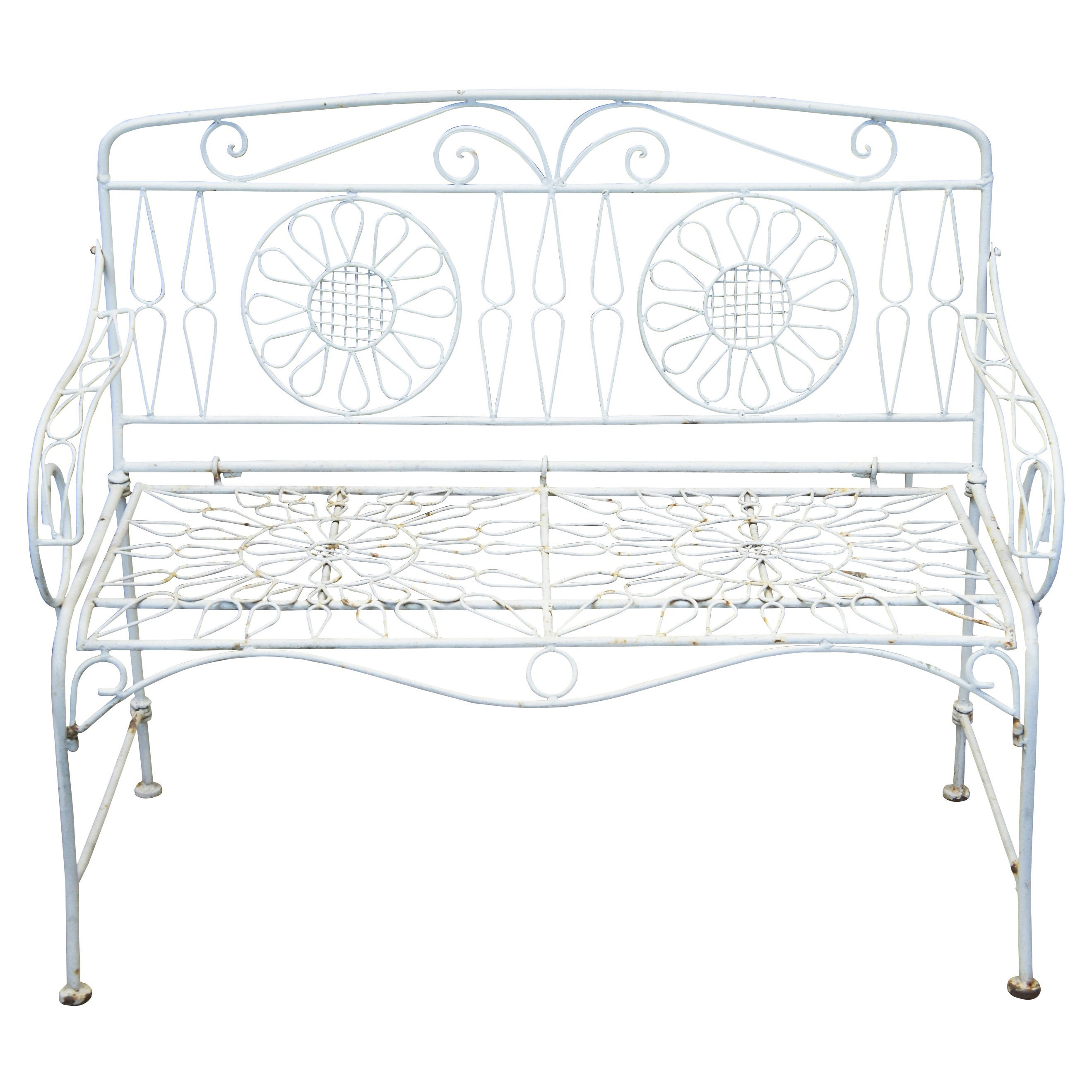 Mid 20th Century White Wrought Iron Flower Back Patio Settee Garden Bench Seat