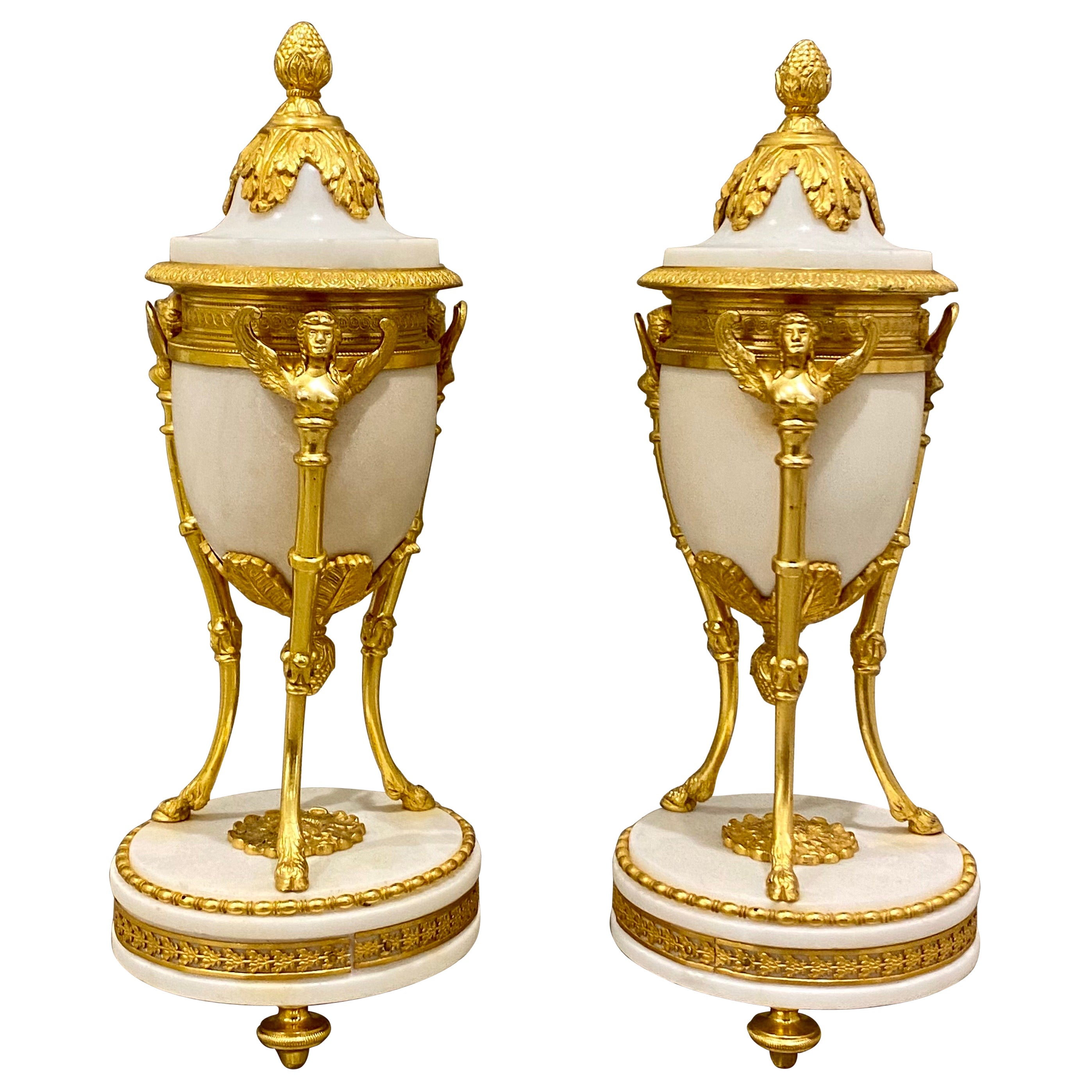 Fine Pair of Louis XVI Winged Sphinx Gilt-Bronze and white Marble Cassolettes