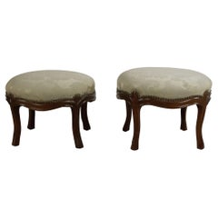 Pair of American Victorian Walnut and Pale Green Damask Footstools