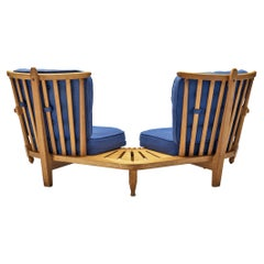 Guillerme & Chambron Lounge Set with Connecting Table in Solid Oak