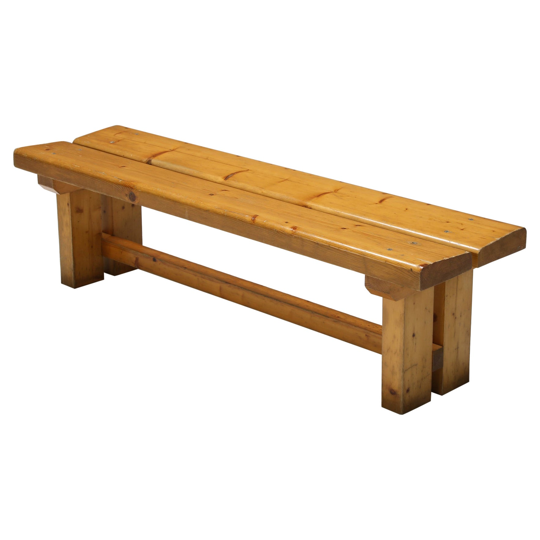 Pine Bench Les Arc Charlotte Perriand, French Modernism