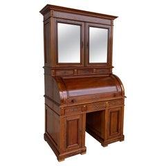 19th Century Empire Mahogany Bureau Secretary with Bookcase