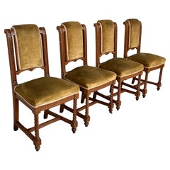 Set of 4 Carved Dining Room Chairs in Louis XIII Style with Velvet Seat and Back