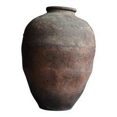 Japanese Old Pottery 1800s-1860s/Antique Flower Vase Vessel Jar Wabisabi