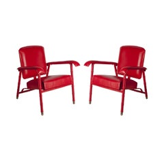 Pair of 1950's Stitched Leather Armchairs by Jacques Adnet