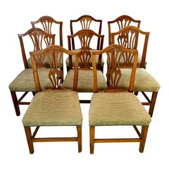 Antique 18th Century Set of Eight George III Hepplewhite Oak Dining Chairs