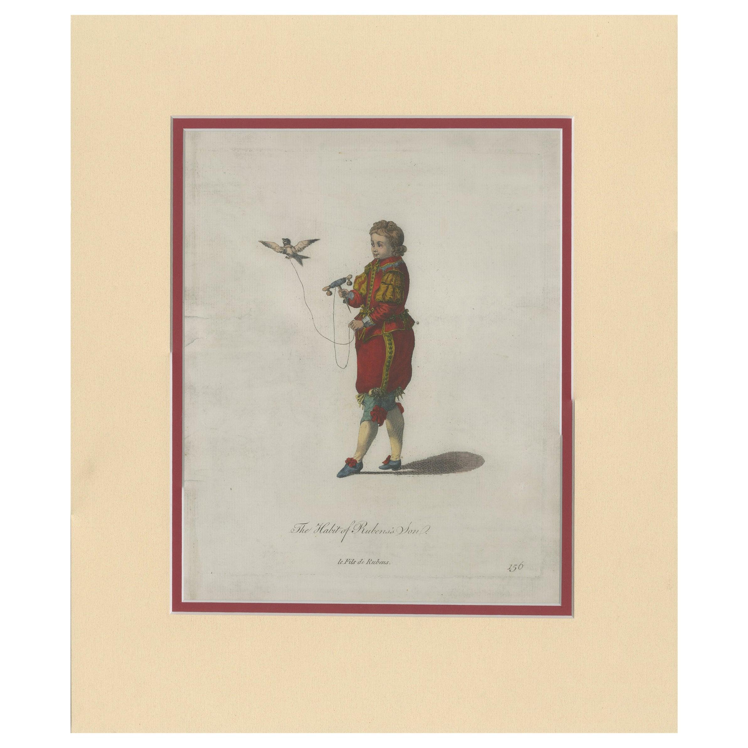 Antique Print of Rubens' son by Jefferys '1772'
