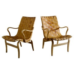 """Pair of Bruno Mathsson """"Eva"""" Easy Chairs in Brown Original Leather, Sweden 1970s"""