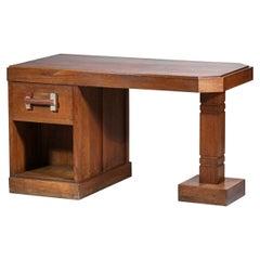Brutalist Desk 50's Solid Oak Vintage Design Style Charles Dudouyt F193