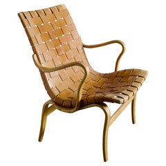 "Bruno Mathsson ""Eva"" Easy Chair in Brown Original Leather, Sweden, 1960s"