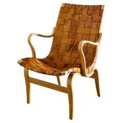 "Bruno Mathsson ""Eva"" Easy Chair in Brown Original Leather, Sweden 1970s"