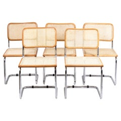 """Marcel Breuer, Series of Five Chairs B 32 """"Cesca"""" in Beech Blond Varnished, 1970"""