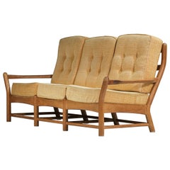 Three-Seater Sofa Guillerme et Chambron Solid Oak 60's F175