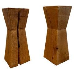 Pair of Brutalist Wood Pedestals, 1980-90s