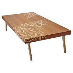 Walnut Coffee Table with Handcrafted Mother-of-Pearl Flower Inlay and Legs
