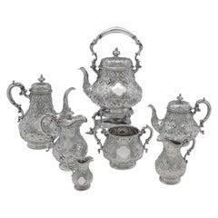 Victorian Antique 'Abercrombie' Pattern Sterling Silver Tea & Coffee Set, 1862