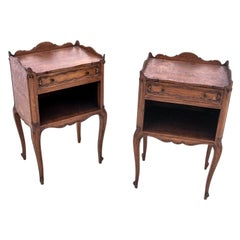 Bedside Tables, France, Walnut, Early 20th Century
