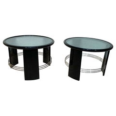 Pair of Art Deco Side or Sofa Tables, Black Lacquer, Nickel, France circa 1930