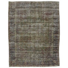 Distressed Antique Persian Kerman Rug with Modern Industrial Chippendale Style
