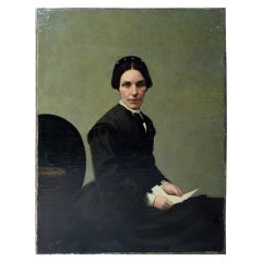 19thC Continental School Oil on Canvas Portrait of a Lady c.1860-70