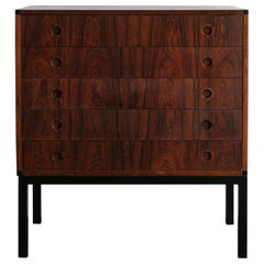 Aksel Kjersgaard Midcentury Scandinavian Dark Wood Chest of Drawers 1960s