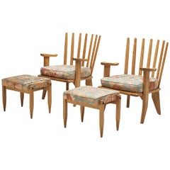 Guillerme & Chambron Pair of Lounge Chairs in Solid Oak