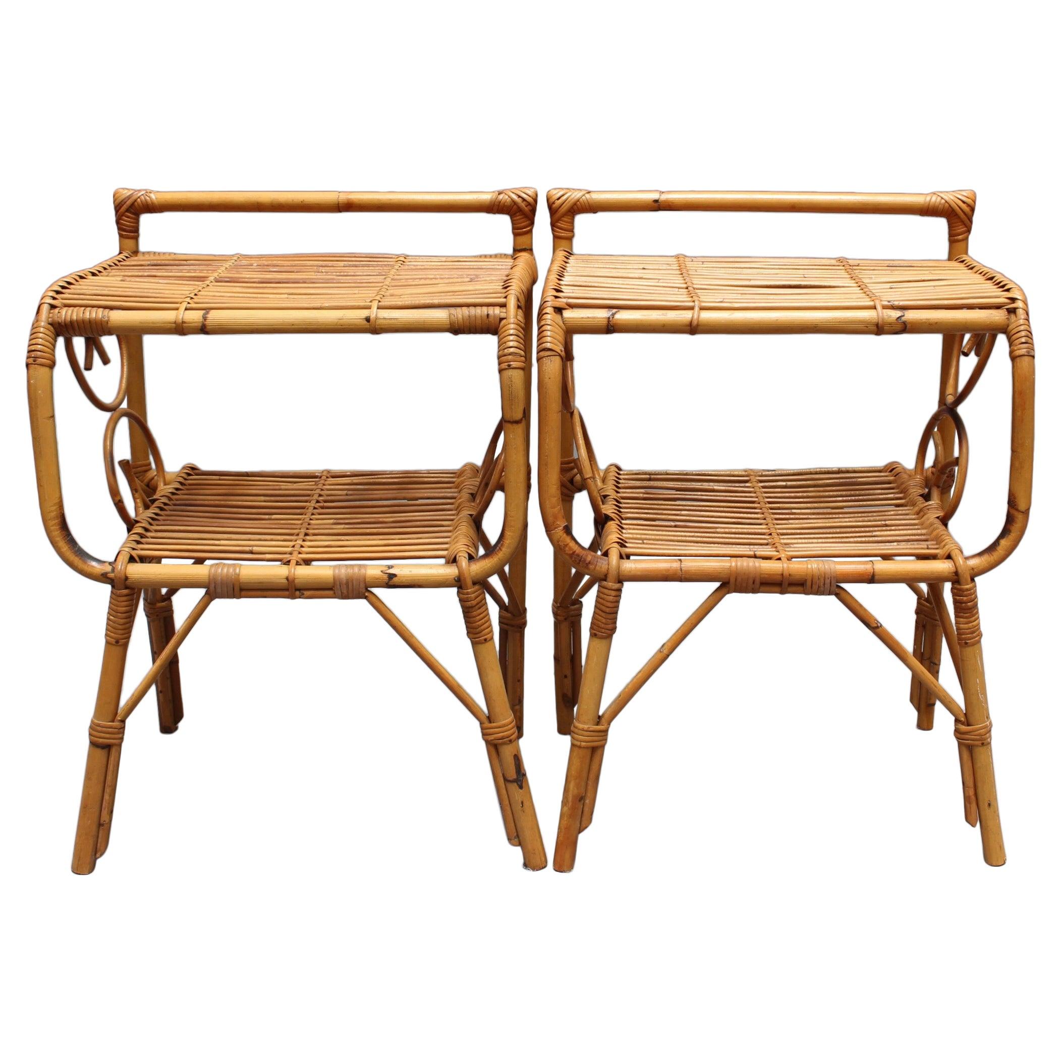 Pair of Italian Rattan Bedside Tables 'circa 1960s'
