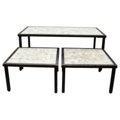 Set of Three Mid-Century French Tiled Tables 'circa 1960s'